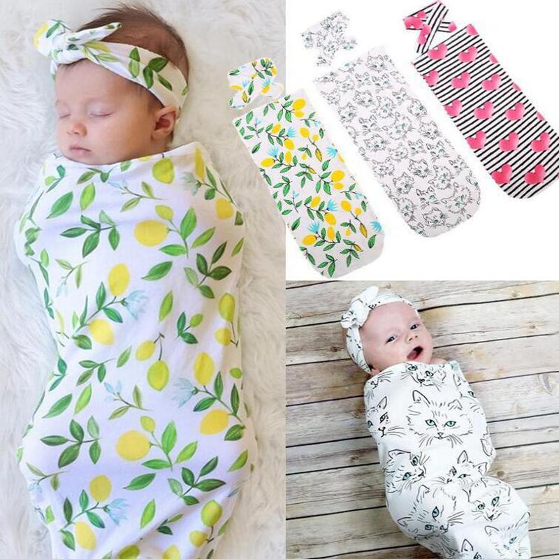 INS Bebê Swaddle Cobertor Headband 2pcs 1set Bebê Recém-nascido Bebê Floral Swaddle Cobertor Da Criança Recebendo Blanket Infantil Swaddle Wrap Kka7754