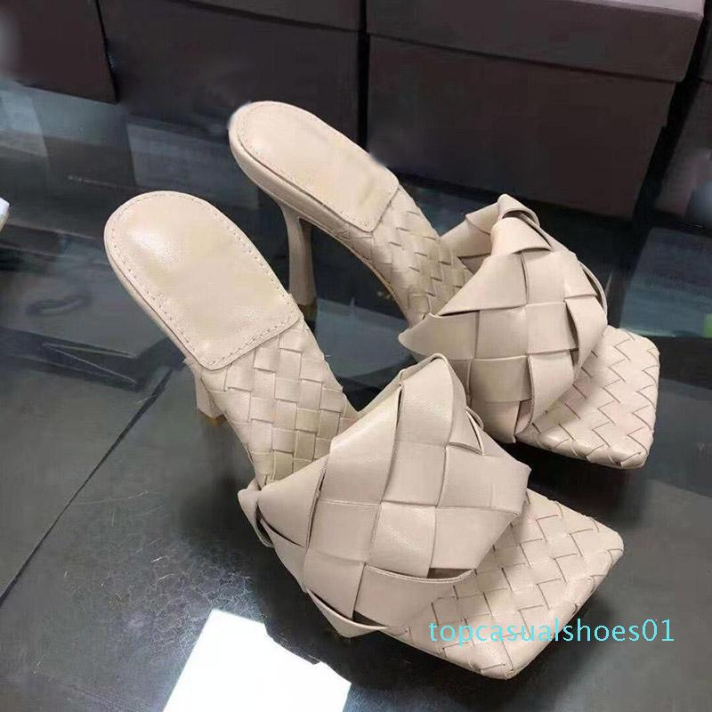 Mode Luxus-Designer-Frauen hohe Absätze Karree Sandale LIDO SANDELHOLZE IN NAPPA Designer Schieber Weave Schieber Hochzeit Frauen pumpt T01