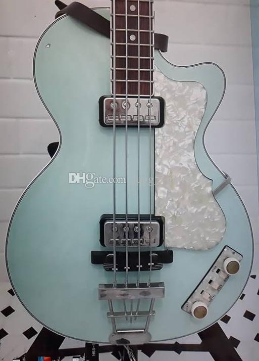 """125. Jubiläum der 50er Jahre Hofner Contemporary HCT 500/2 Violine Club Bass Light Green E-Gitarre, 30 """"kurze Tonleiter, White Pearl Schlagbrett"""