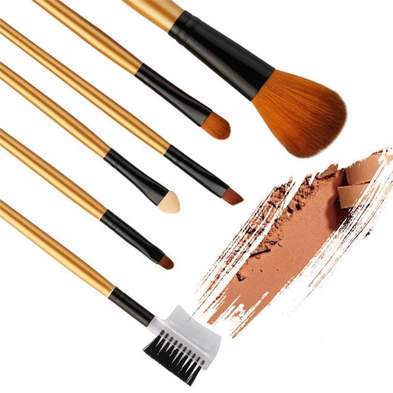 6 pcs Maquiagem Brushes Set Fundação Highlighter Escova Kit Sombra Delineador Em Pó Make Up Marca Ferramentas de Cosméticos