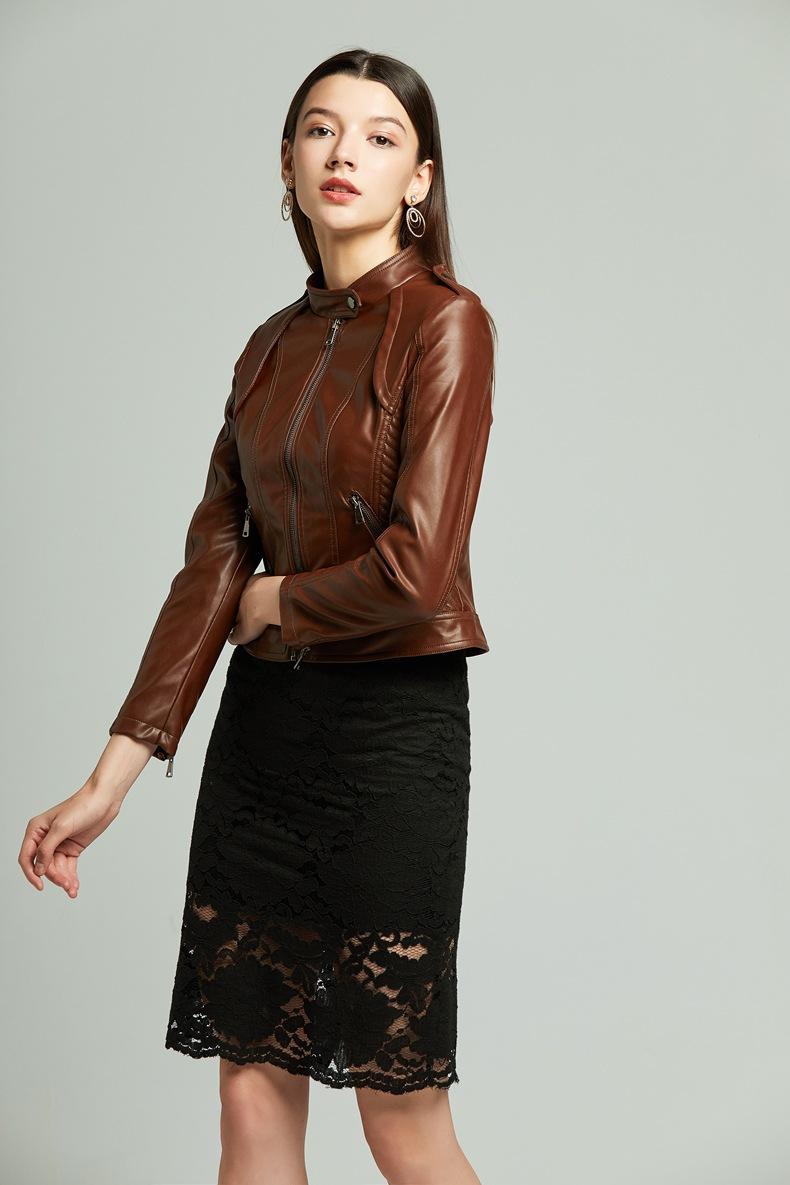 Mulheres PU Leather Jacket Outono suave Pu Couro Punk Coats feminino curto Bomber Leather Motorcyle Zippers Biker