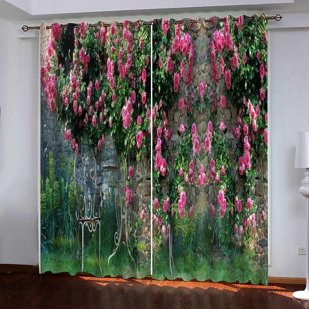 사용자 정의 모든 크기의 사진 핑크 장미 침대 방 거실 사무실 호텔에 대한 창 정전 럭셔리 3D 커튼 세트 커튼