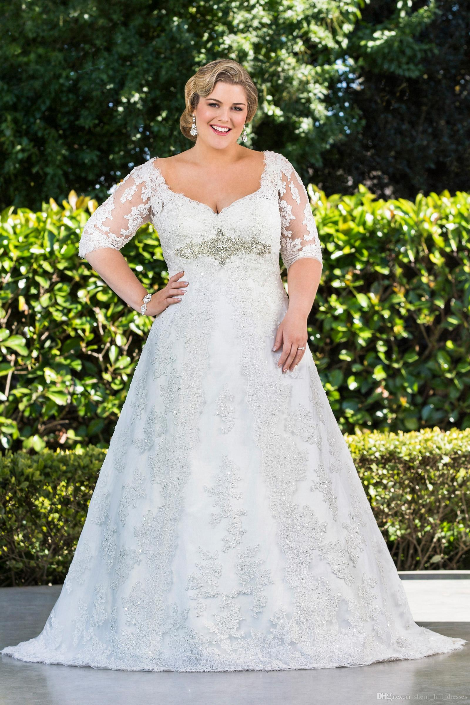 Discount Hot Plus Size A Line Lace Wedding Dresses With Half Sleeves  Arrival Sheer Long Princess Bridal Gowns Winter Crystal White Appliques  DH390 ...