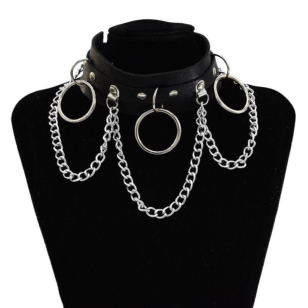 PU Couro gargantilha Necklace Black White Cor Hoop pingente cadeia de borla Neck Cadeia Belt Colar da menina Mulheres