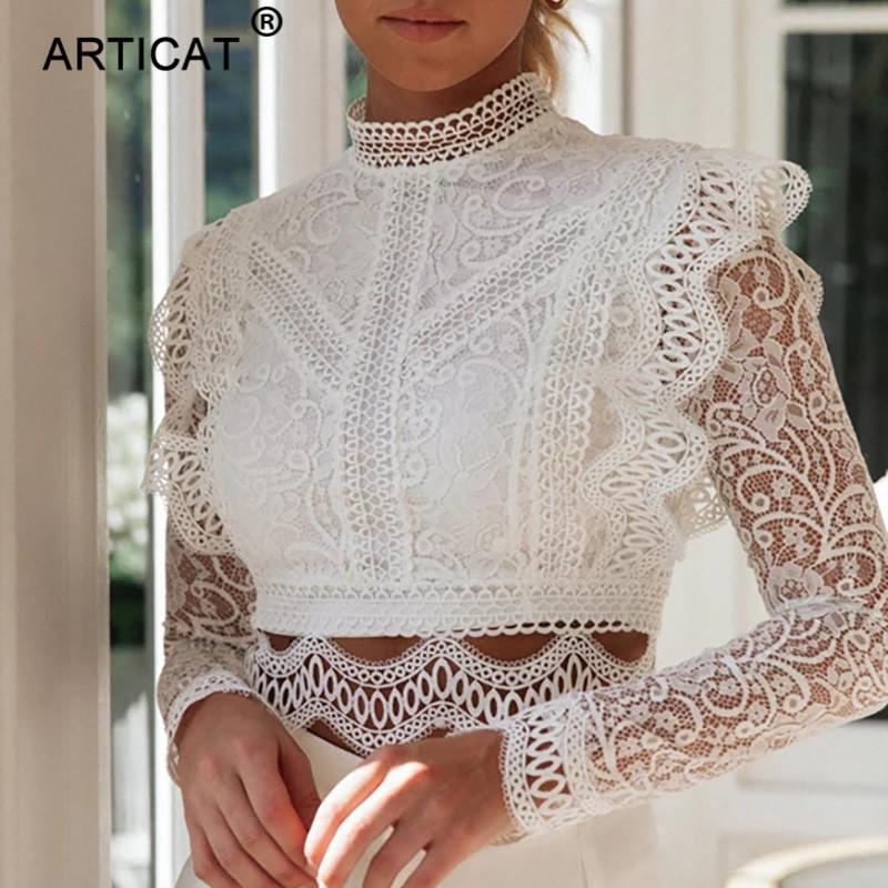Articat Элегантный белый Женщины кружева блузка рубашка Sexy выдалбливают Вышивание Тонкий Crop Top Женщины Blusas с длинным рукавом Повседневная топы Chic