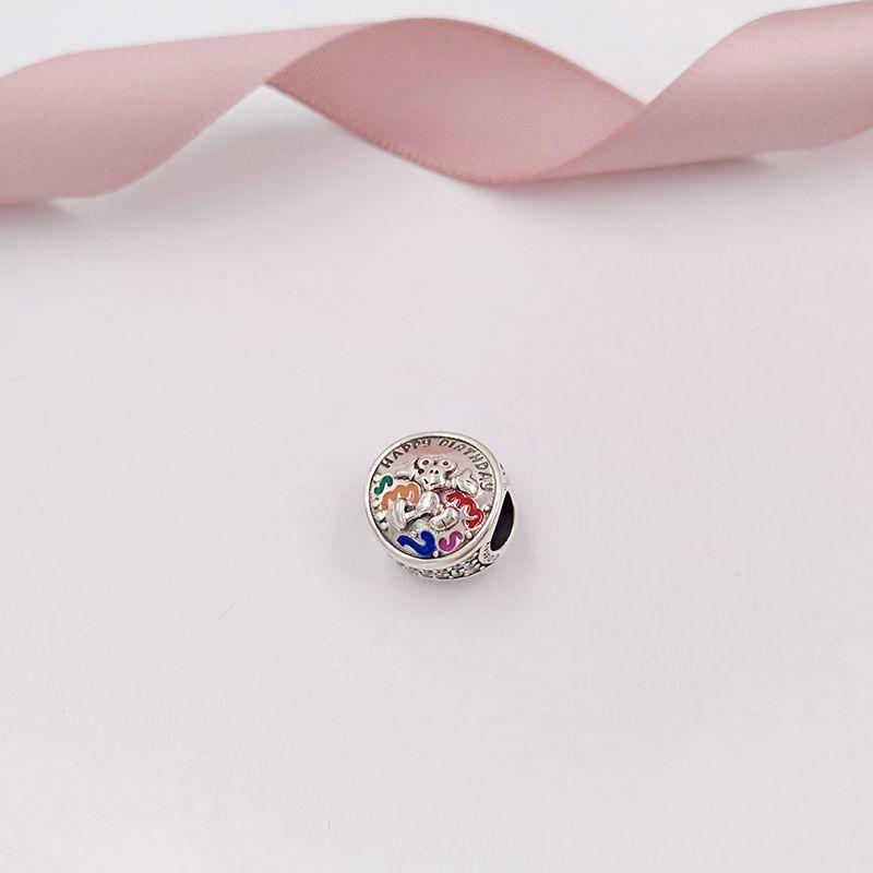 Аутентичные 925 стерлингового серебра шариков Pandora Шарм - С Днем Рождения - Подвески Мики Маус Подходит Европейский Pandora Стиль ювелирных изделий Браслеты шеи