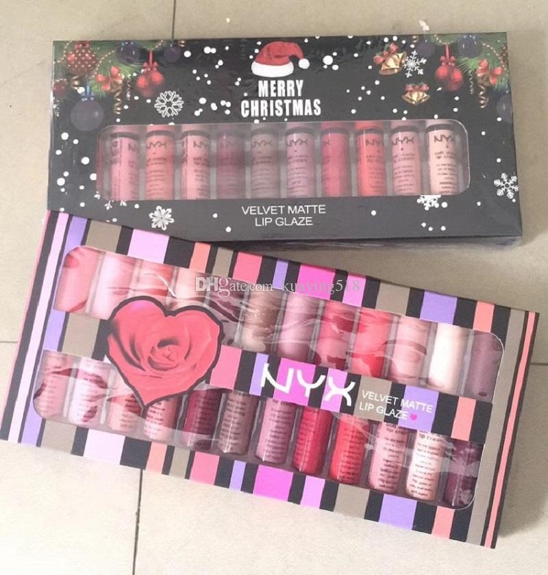 عيد الميلاد الجديد هدية NYX SOFT MATTE LIP CREAM نيكس 12PCS مجموعة أحمر الشفاه ملمع الشفاه غير لامع لا يتلاشى سوفي المخملية الشفاه ماكياج 12 الألوان مجموعة