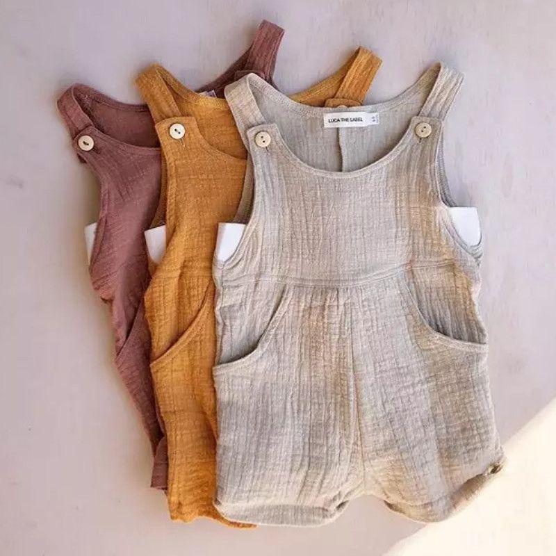 Coton solide du nouveau-né bébé fille manches Jumpsuit Romper bébé mignon solide Vêtements Couleur coton lin Tenues 6M-3T