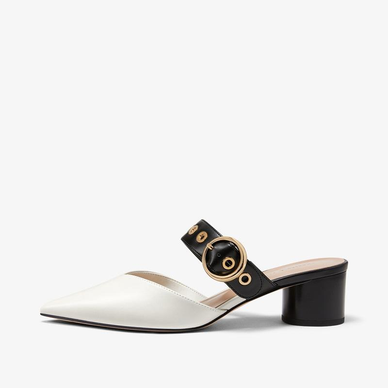 Talons bloc clouté Sandales Femme Chaussure 2020 Vente d'été de chaussures pour femmes Shallow Bouche Med Chunky Sandales Femme Haut