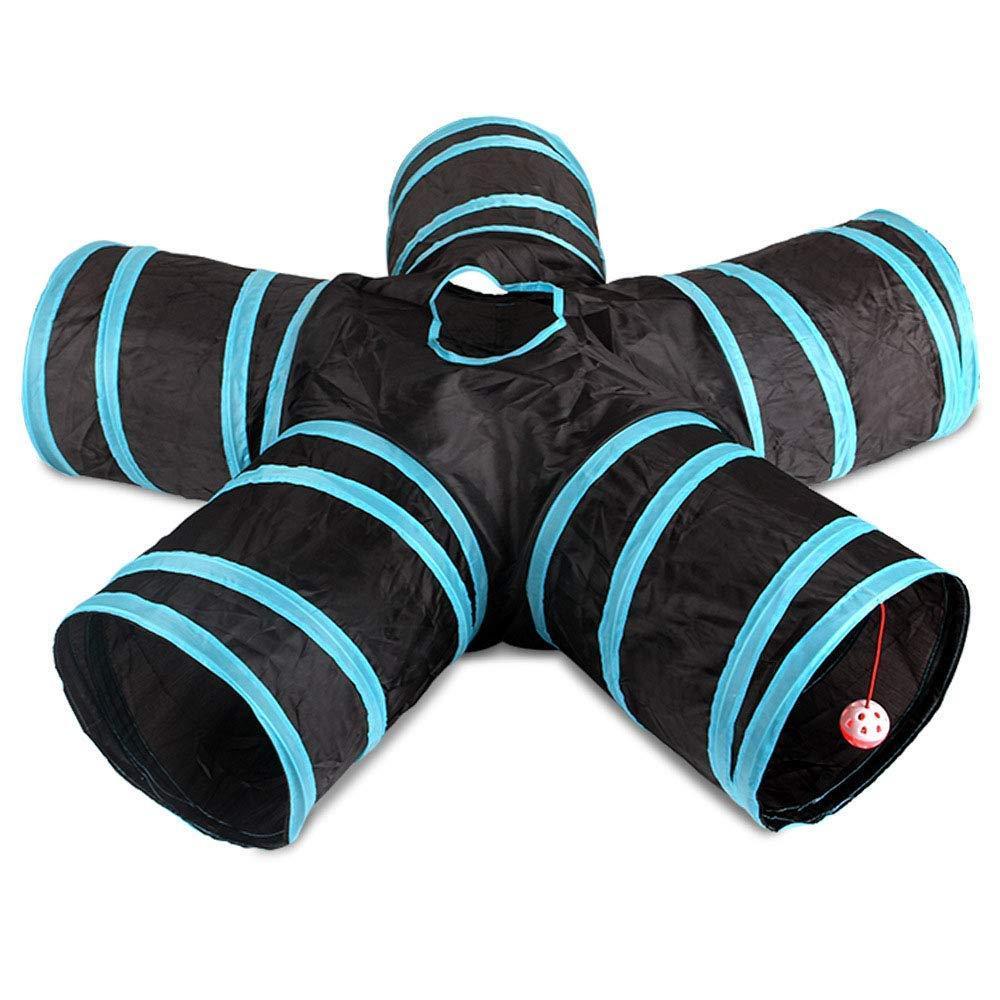 고양이 터널, 5 방향 접이식 애완 동물 장난감 터널 - 고양이와 개 게임 파이프 - 블랙 블루