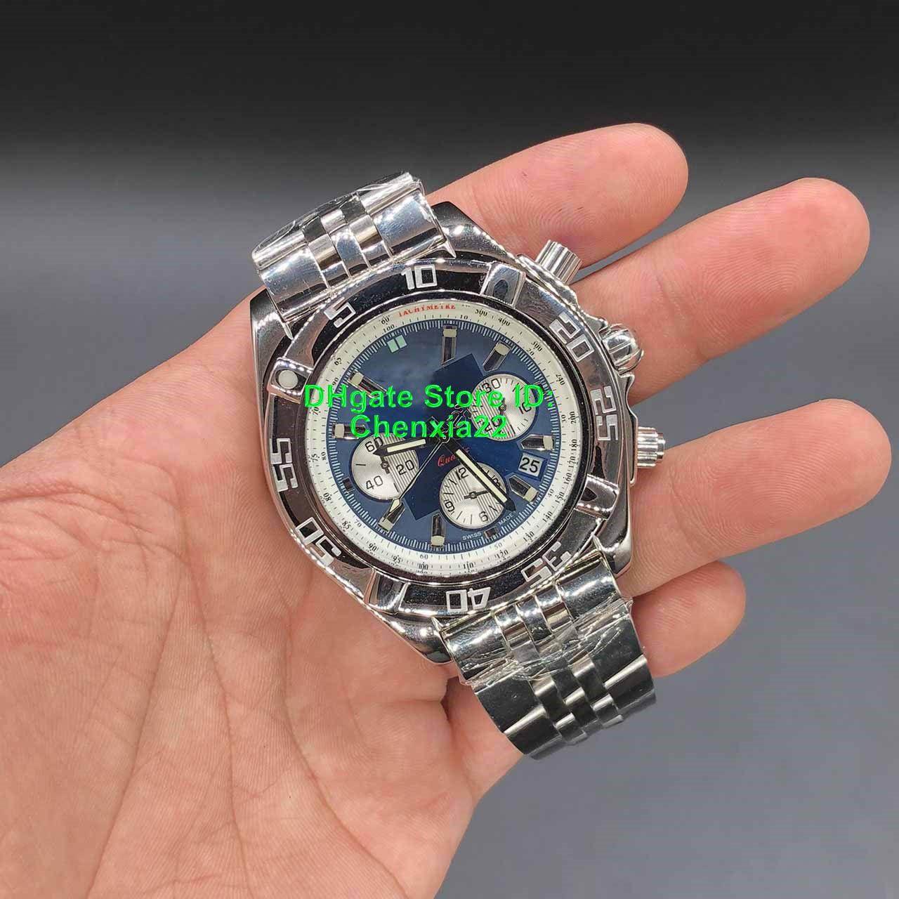 2019 Alta Qualidade Relógios De Pulso De Luxo Azul Dial CB110121 Chronograph Movimento De Quartzo Mens Watch Pulseira De Aço Inoxidável Relógios 46mm