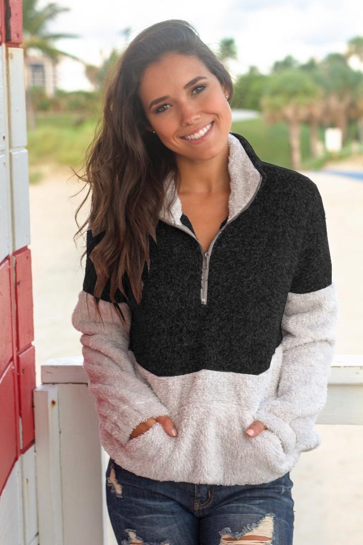 Sweatshirt Frauen Hoodies Harajuku Kontrast Farbe Langarm Rollkragen Reißverschluss Hoodies Warme Lässige Winter Fleece Pullover