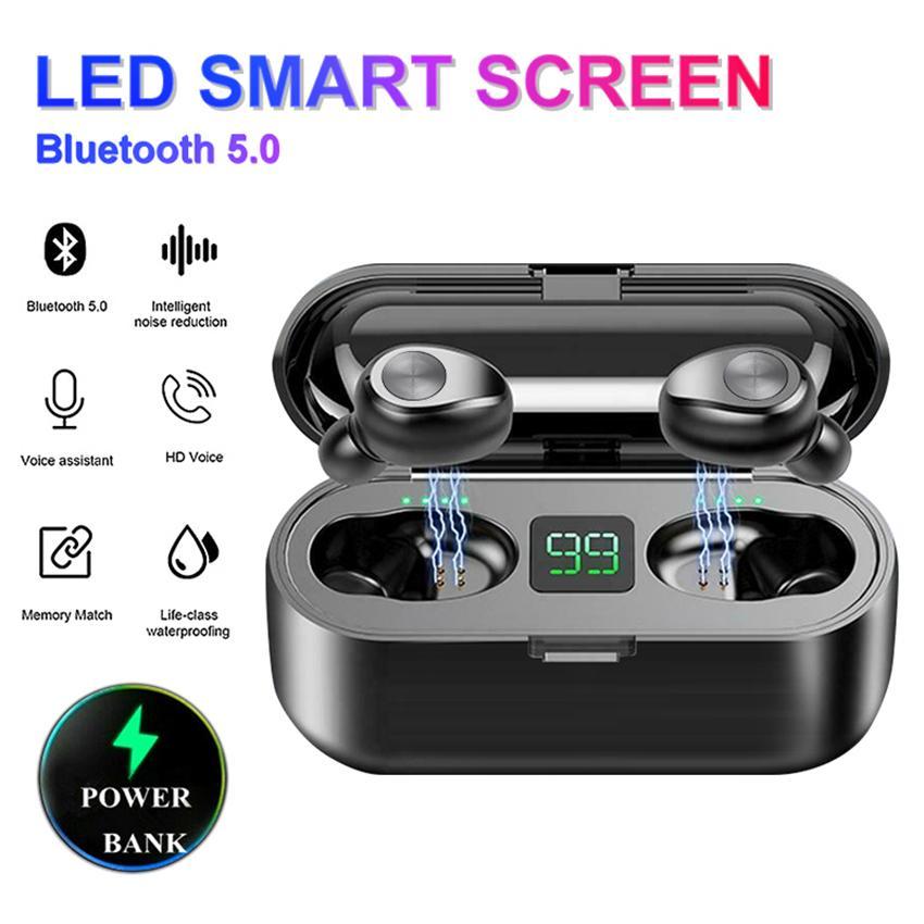 F9 TWS Button Control LED Digital Display Wireless Bluetooth 5.0 Earbuds Headphone Earphones Power Bank In Ear Headset VS i7S i12 i100 A6S