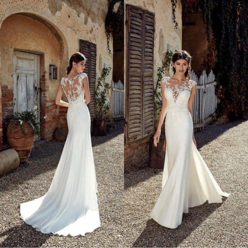 2019 nieuwe ontwerper strand trouwjurken sexy kant applique pure nek vloer lengte bohemian goedkope plus size bruiloft bruidsjurken BC0833