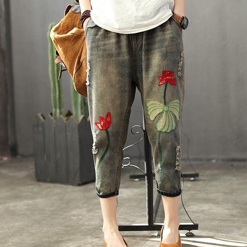 Bestseller Pluderhosen Weibliche Mode Patchwork Stickerei Hohe Taille Jeans Frau Streetwear Elastische Taille Vintage Casual Hosen