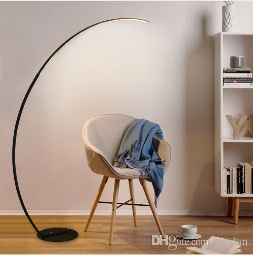 슬림 한 디자인 LED 플로어 램프 (긴 팔이있는 검정색 / 흰색 / 디머 블 LED)