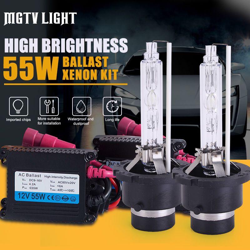 MGTV LIGHT 55W HID Xenon Kit Car Headlight Bulb H1 H7 H11 9006 HB3 H27 D2S 9012 H4 Bi-Xenon с Тонкий Балласт 4300k 6000k 8000k