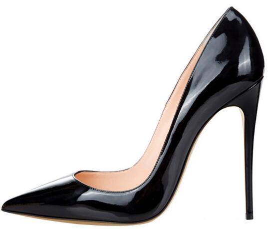 Zapatos de tacón alto para mujer Zapatos de marca de 12 cm Zapatos de boda rojos de charol 10 cm 8 cm Tacón fino Punta puntiaguda 35-44