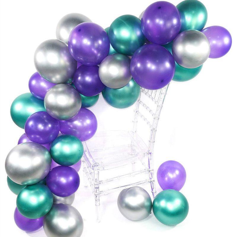 50 pçs / set Cromo Balões Garland Peal Roxo Verde e Kit de Prata para a Pequena Sereia Partido Princesa Do Aniversário Do Chuveiro de Bebê Decoração
