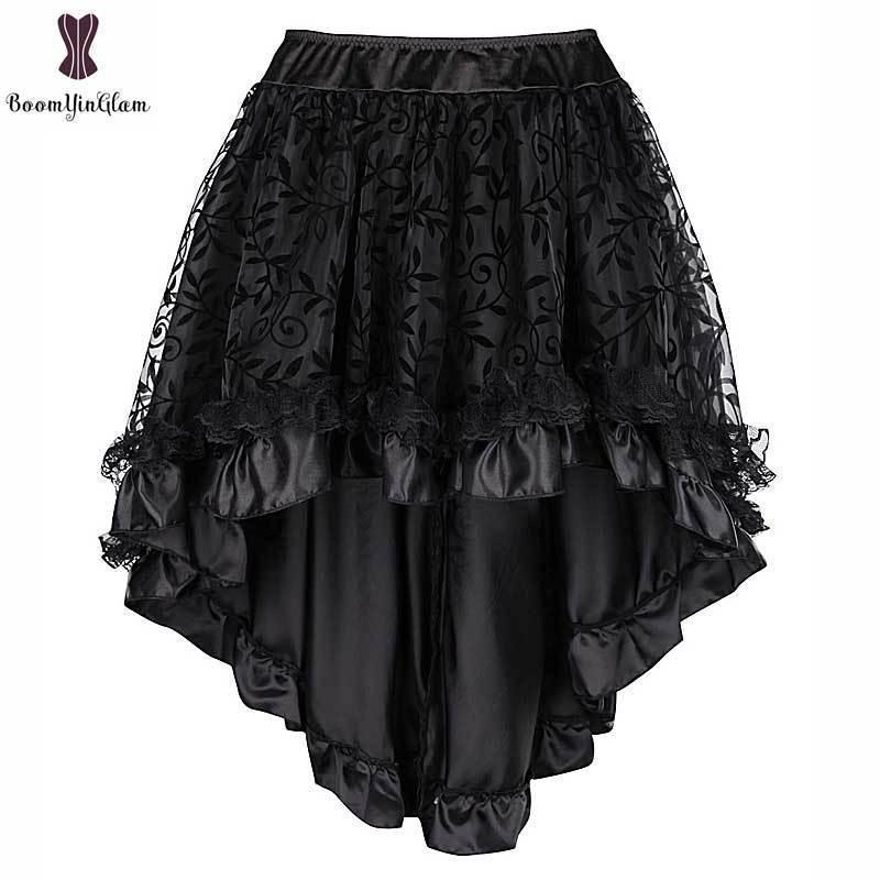 Steampunk Vintage Corset Skirt Plus Size 6xl Black Coffee Back Zipper Closure Satin Lace Overlay Gothic Hot Asymmetrical Skirts Y19072001