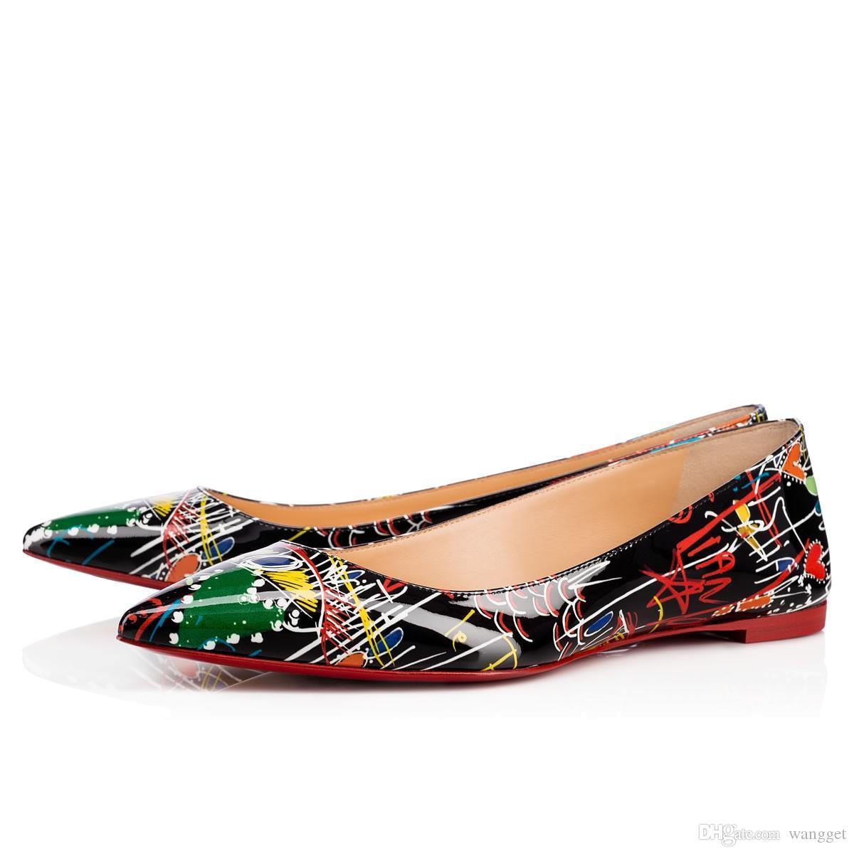 [Orijinal Kutusu] Kadınlar Tek Ayakkabı Casual Düşük topuklu Gelinlik Ayakkabı için Parlak Dikenler Kırmızı Alt loafer'lar Ayakkabıları ile Gerçek Deri
