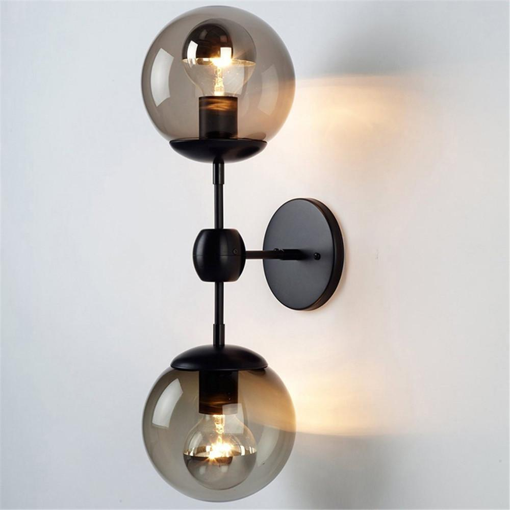 Industrial Loft Black Metal Glass Wall Lamp Magic Bean Molecule Homr Decor Wall Sconce Fixture WA117