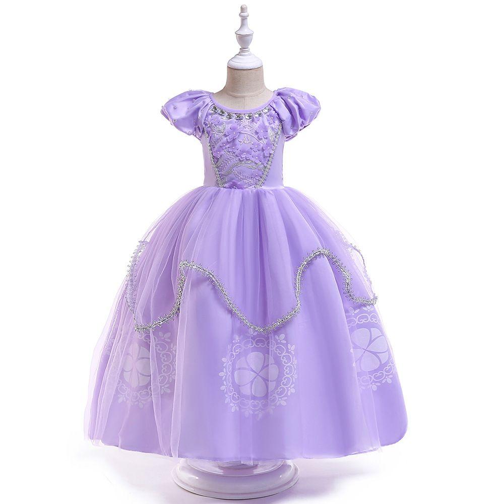 Niños Niñas Navidad Primavera Verano Invierno Cumpleaños Lindo Púrpura Fantasía Western Performance Navidad Princesa Vestido en línea