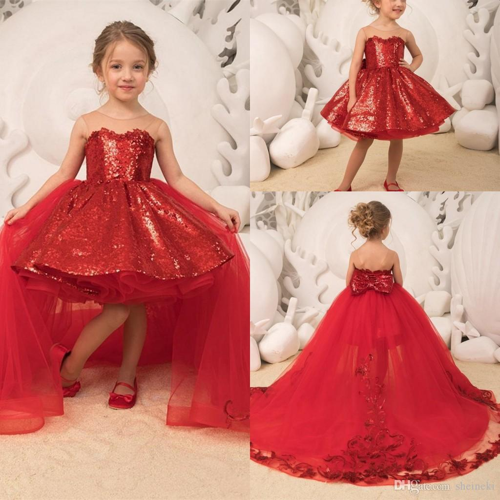 2019 Sparkle Sequins Red Princess Ball Gown Girls Pageant Dresses Tulle Appliques Bow Detachable Train High Low Kids Party Birthday Gowns