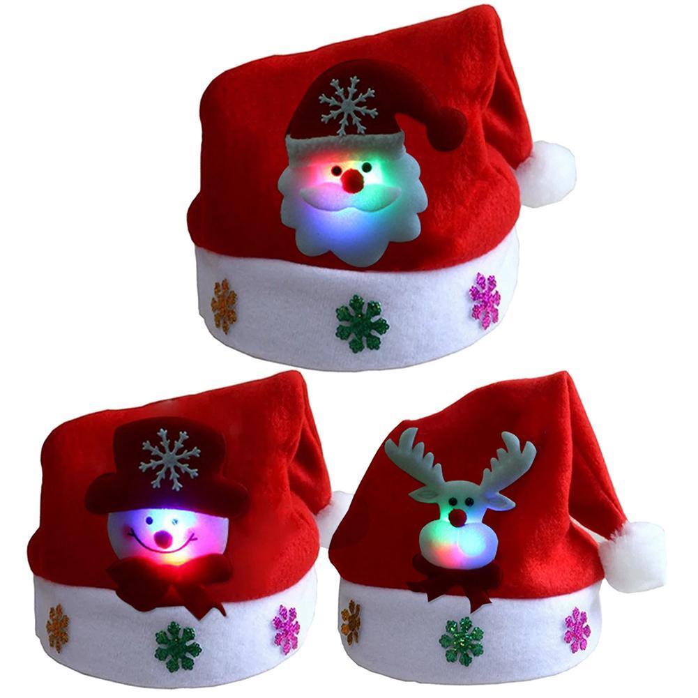Presente Xmas Hat Up Cap Feliz Natal Kid Adulto LED Light Papai Noel Boneco Elk