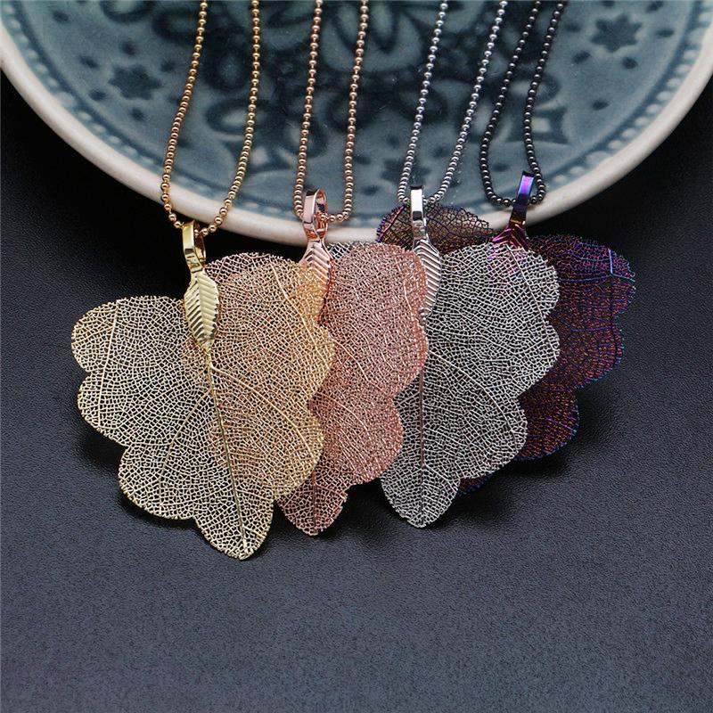 Мода Real Природные листьев ожерелье для женщин Золото Серебро Листья Длинные ожерелья цепи женщина себе ювелирные изделия партии
