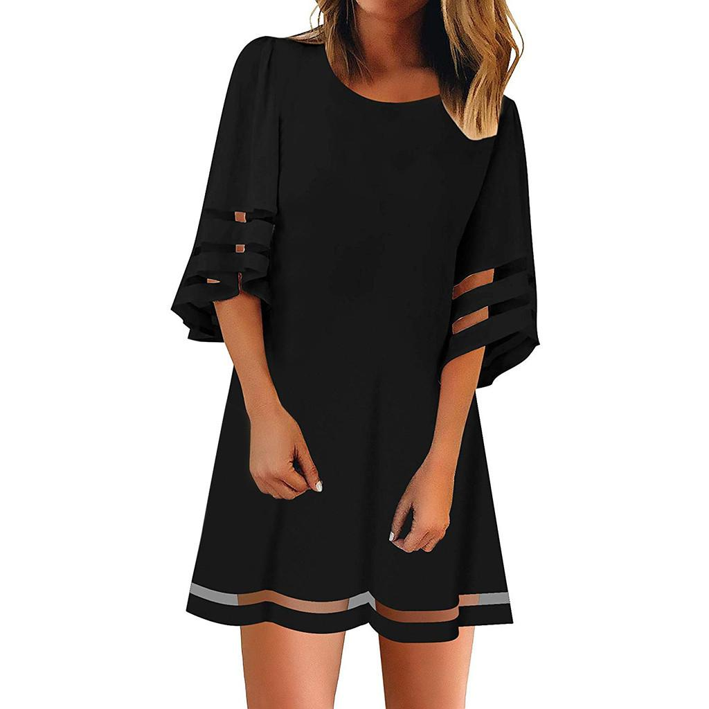 Women's O Neck Mesh Panel 3/4 Bell Sleeve Loose Dress Pleated Female Casual Straight Dress Vestidos Short Beach Sundress