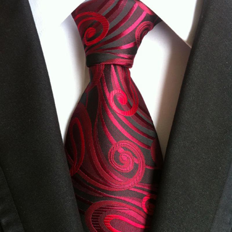 men's 8cm silk tie red floral print tie for Man Business Wed Formal Neck Tie neckwear Dress Gift Gravata