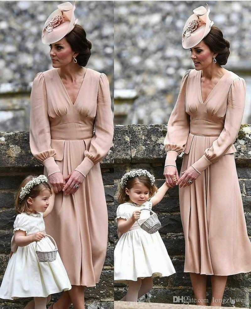 Gelin Elbise V Yaka Uzun Kollu Saten Abiye Diz Boyu Anneler Elbise A Line Anne