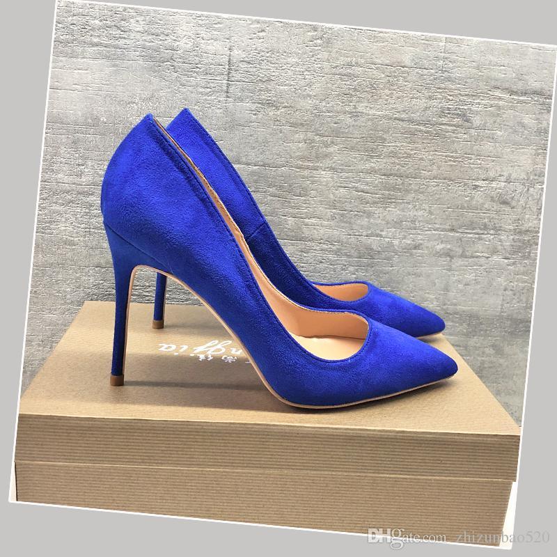 Повседневная дизайнер Sexy lady женская мода насосы острым носом синий замши дизайнеры на высоких каблуках насосы 12 см 10 см 8 см шпильках новый
