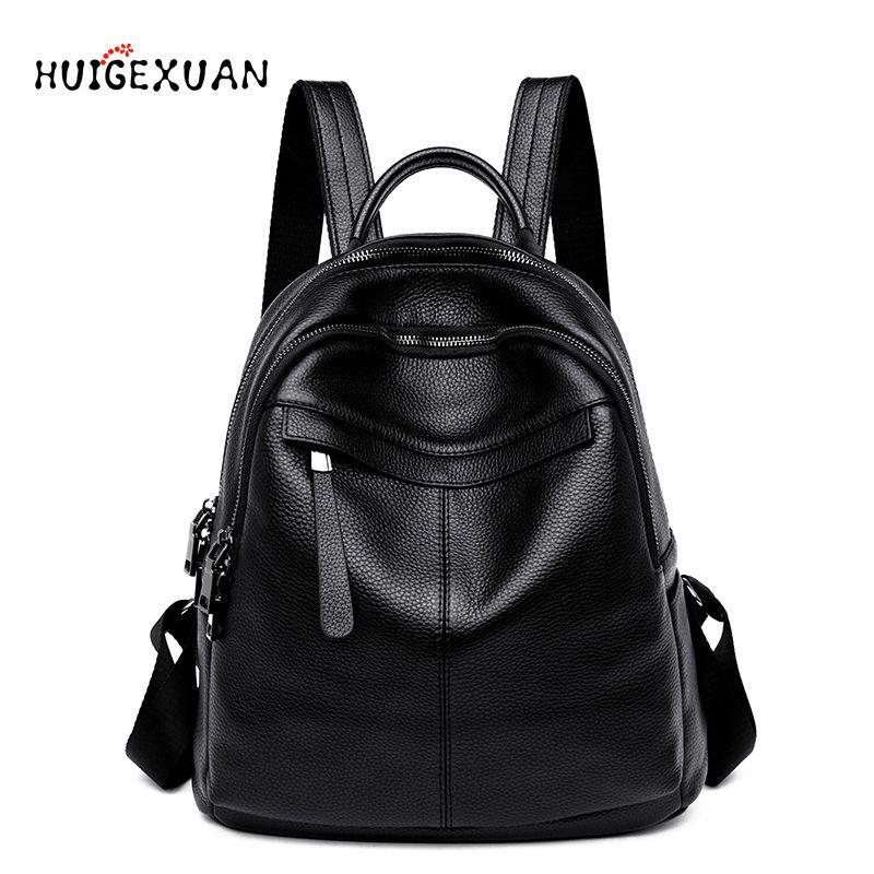 Mulheres 100% Real Leather Mochilas Feminino de alta qualidade Backpack Big Capacidade Férias Lazer Estilo menina Schoolbag Viagem Big Bags V191114