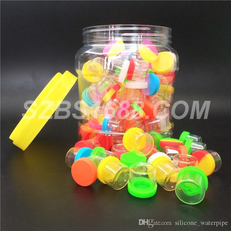 Gläser silikonbehälter wachsbehälter 110pcs / can 6ml tupfenglas Nichthaftende silikonabdeckung glasflasche rauchen zubehör für tupfenwachs