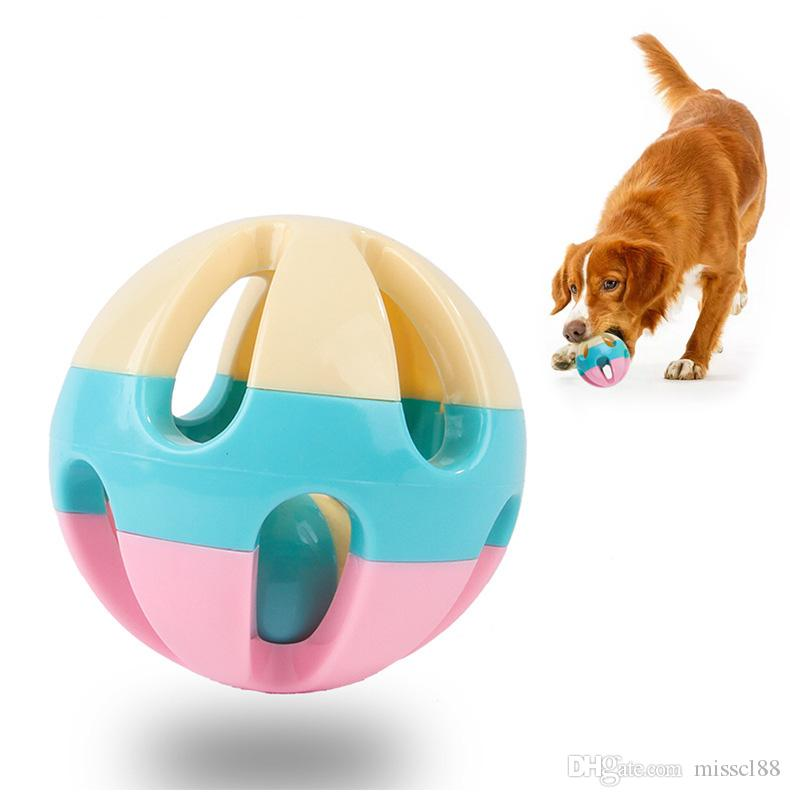 Best Selling New Pet Training Untiring Decompression Cat Dog Teddy Ringing Bell Ball Toy Candy Color Free Shipping