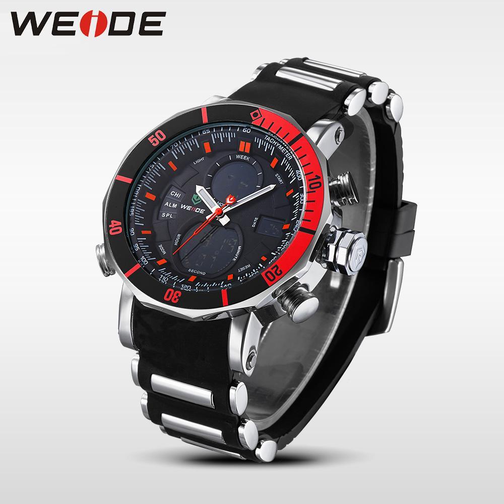 WEIDE Luxury Brand Аналоговый спортивный цифровой позици Дата Мужские кварцевые Бизнес Силиконовые пояса Часы Мужские наручные Relogio Мужчина для