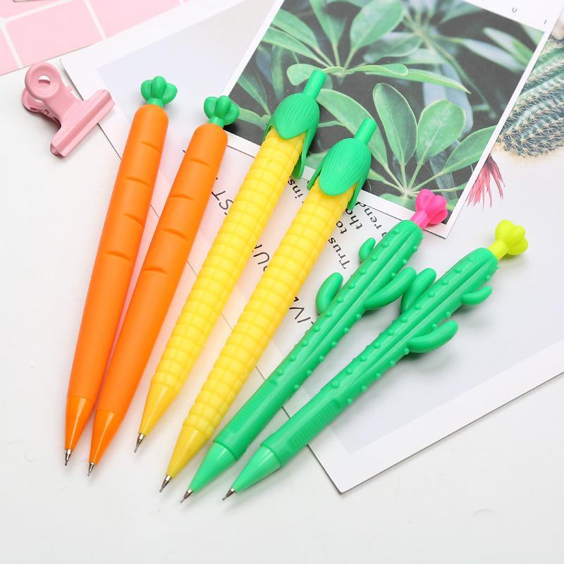 36 PC / porción de 0,5 / 0,7 mm regalo Cactus maíz lápiz mecánico Escuela Pen Zanahoria linda automática dibujo escritura Estacionario