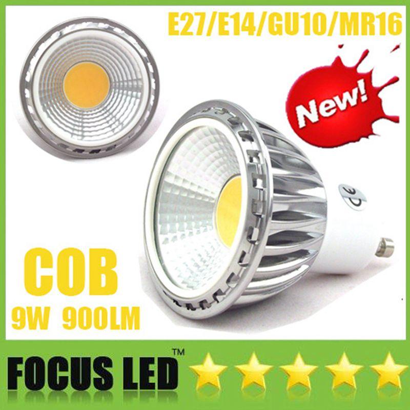 Silver 9W COB Led bulbs Dimmable Led Spot Light E27 E14 GU10 GU5.3 85-265V MR16 DC12V Cabinet showcase Display Spotlight Down light Lamps CE