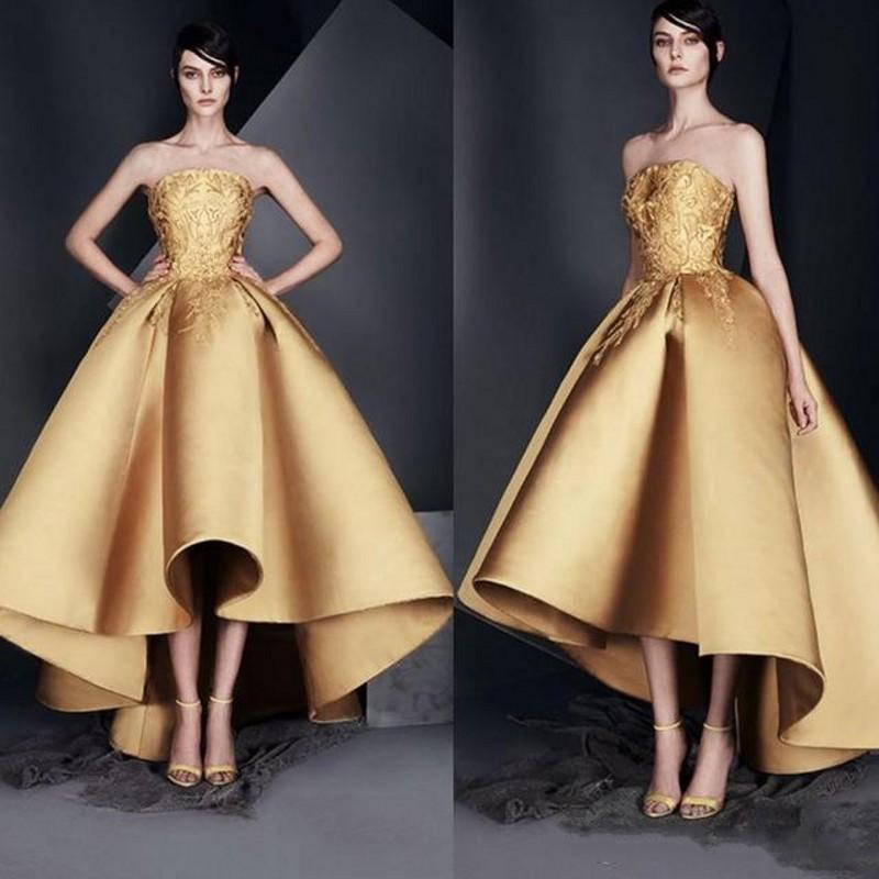 Designer High Low Gold Prom Dresses 2020 Strapless Satin Applique Ankle Length Formal Cocktail Dress Petite Robes de
