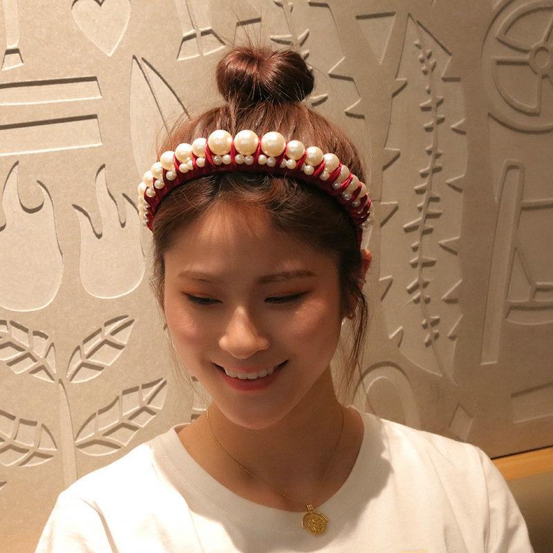 Estilo de bandas de cabelo cortado rente ao couro cabeludo Com Headbands Pérola Senhora Temperamento Hairband cabelo de plástico Alice Banda Cerchietto aliceband