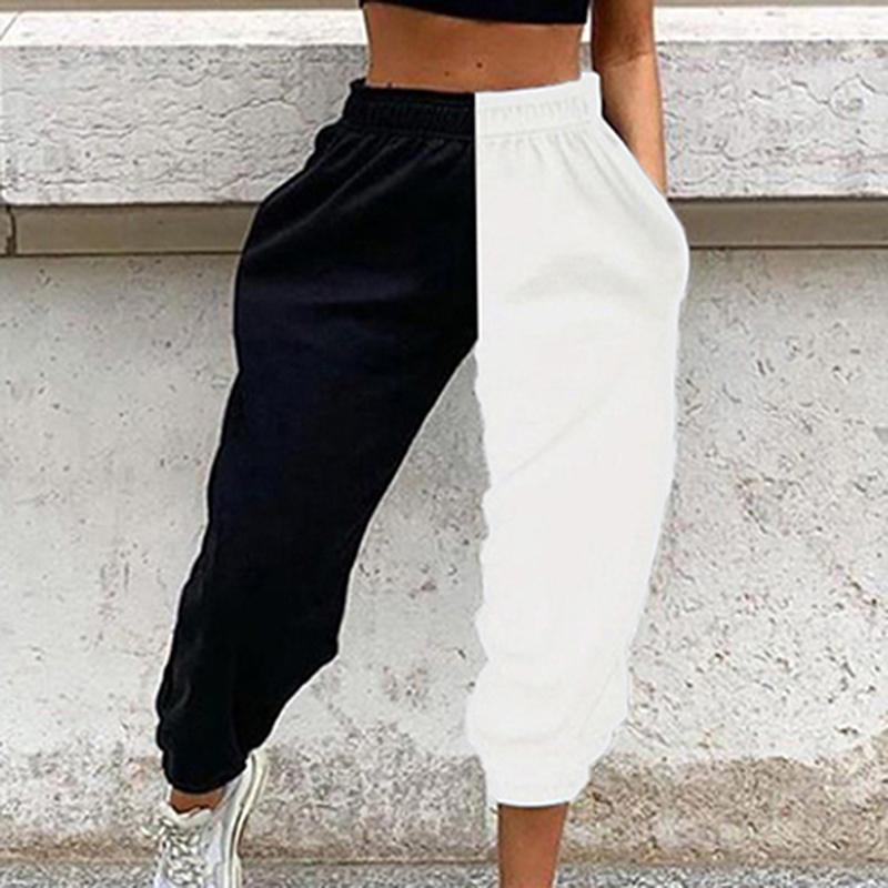 GAOKE zufällige sportliche Frauen Jogginghose Spring Fashion 2020 Patchwork Hose Training mit hohen Taille Farbe Blocking langen Hosen Schlank