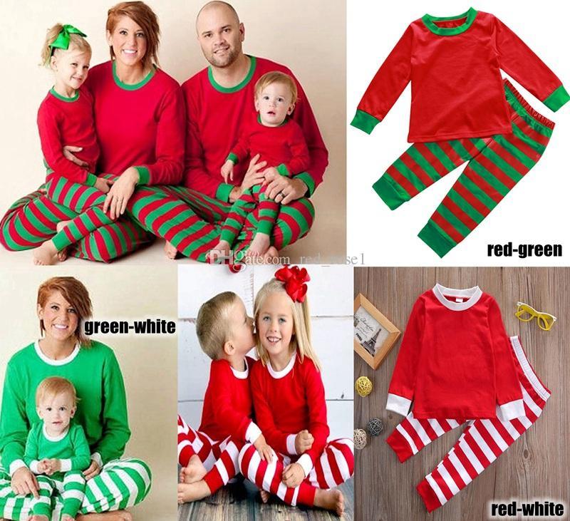 Family Christmas Pajamas Set Adult Women Men Kids Girls Boy Striped Sleepwear Xmas Deer Nightwear Clothes Matching Family Outfits 3 colors