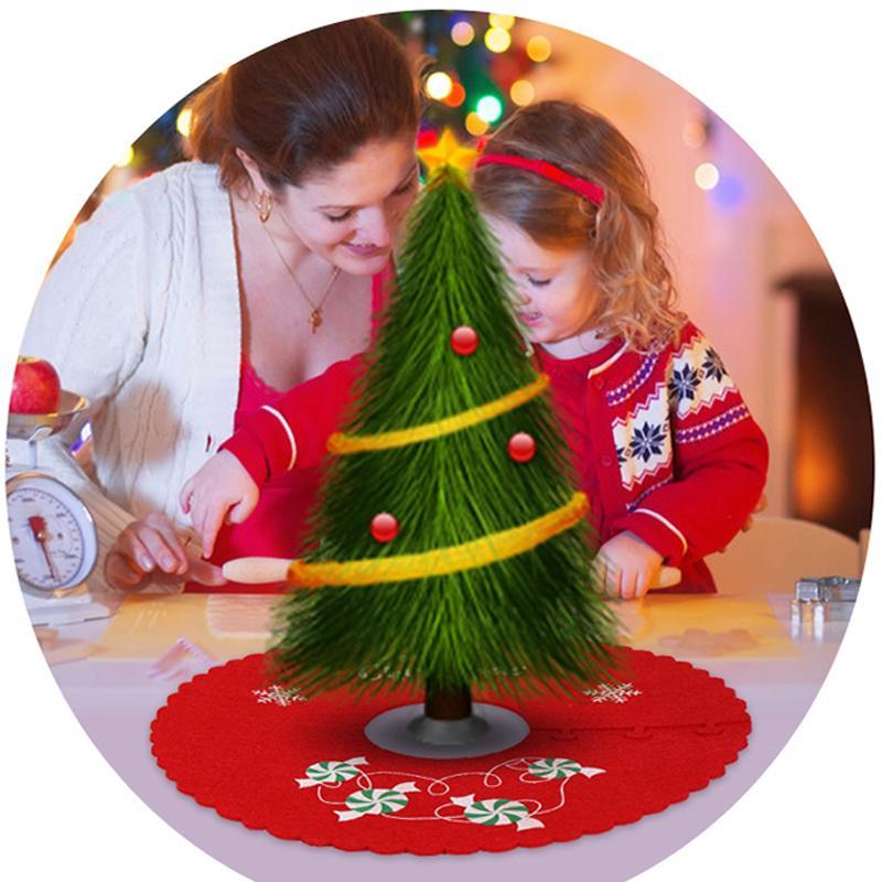 12 * Cycle d'arbre de Noël Jupe Tapis sol Base de tapis de Noël Accueil Décoration Party alimentation Rouge Vert