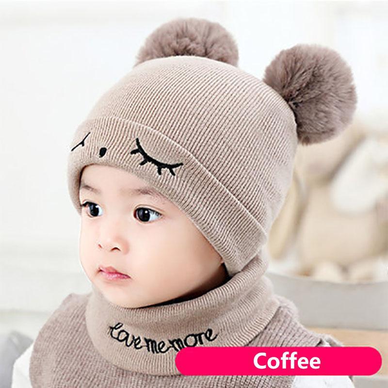 2Pcs/Set Cute Eyelash Hat Scarf For Baby Boy Girl Pompom Cap Beanie Winter Warm Kids Children Knit Double Balls Beanies Scarves