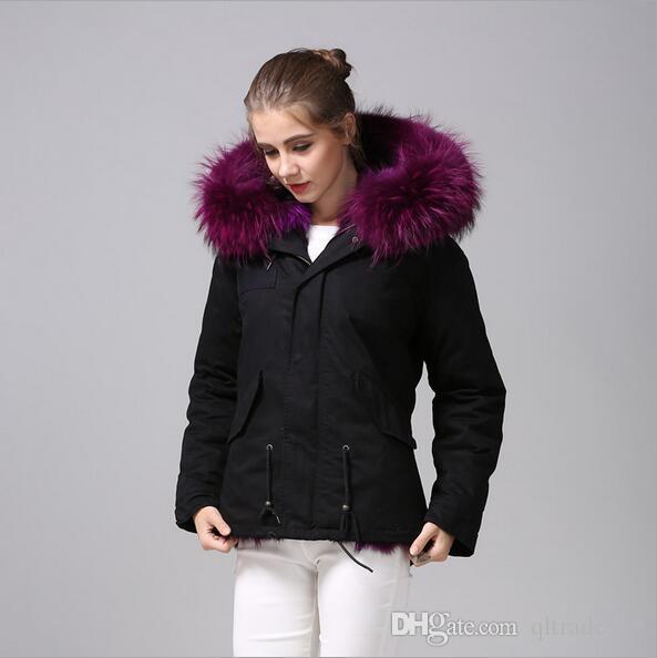 marca Beauitful Meifeng pele de guaxinim roxo guarnição raposa roxo alinhado pele Mini Black casacos mulheres neve parka casacos com zíper YKK