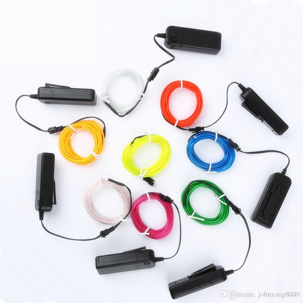 1 mt / 3 mt / 5 m 3 v flexible neonlicht glow el drahtseil band kabel streifen led neonlichter schuhe kleidung auto wasserdichte led streifen