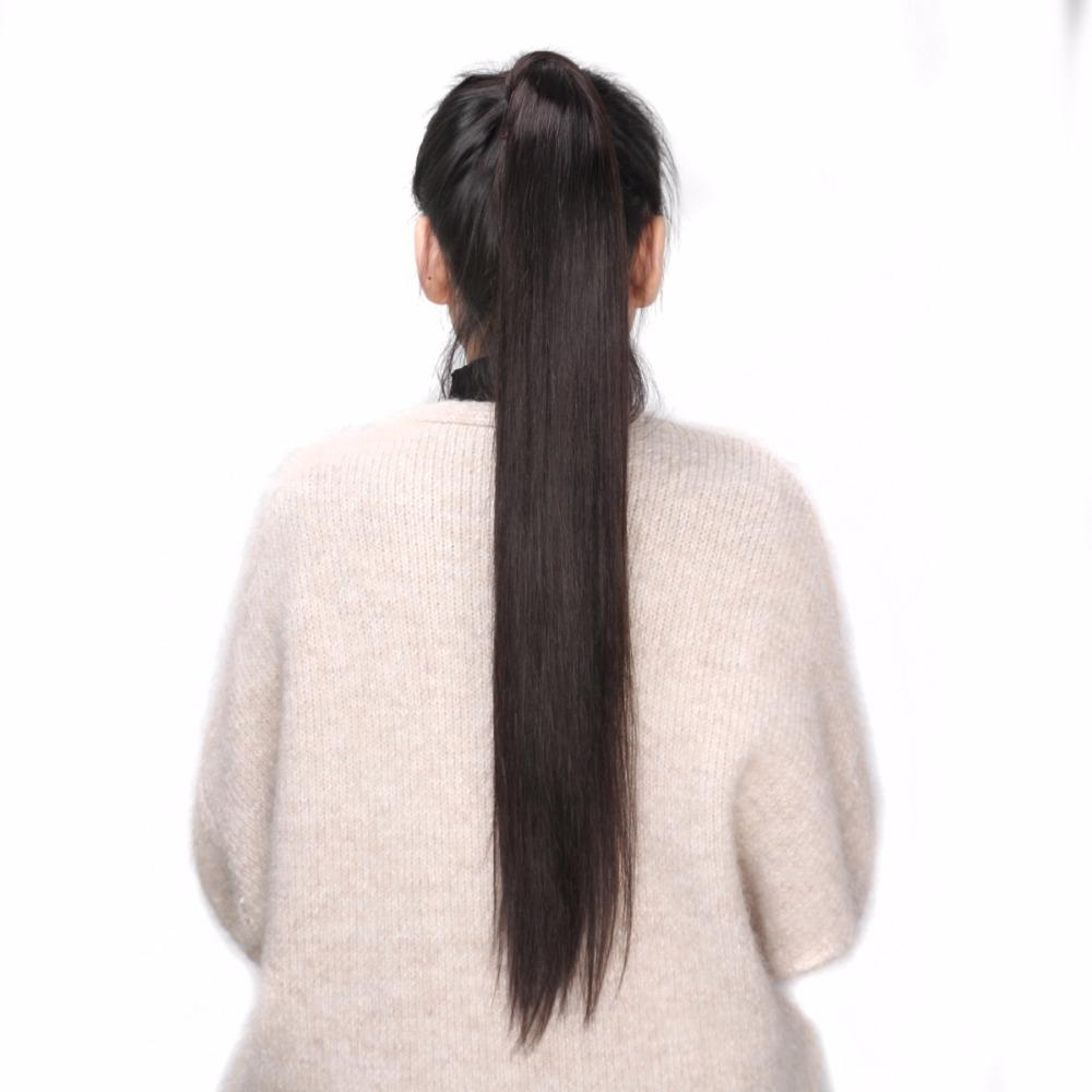 Bhf 100% cabelo humano rabo de cavalo brasileiro remy rabo de cavalo envoltório em torno de rabo de cavalo 60g 100g 120g perucas naturais caudas retas