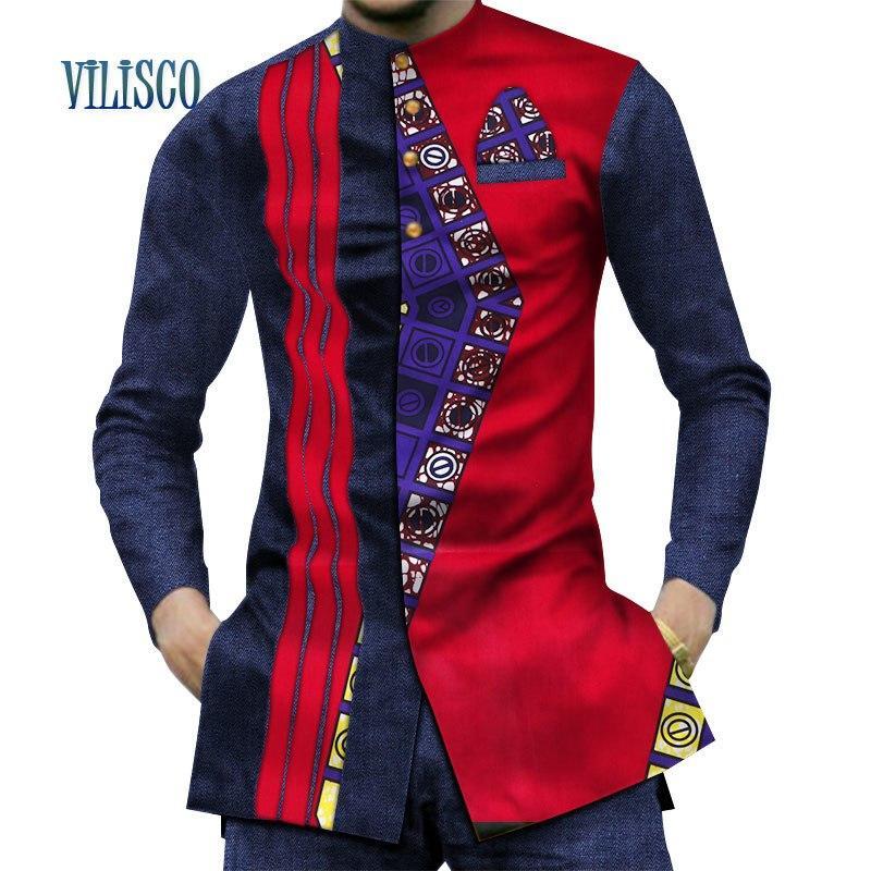 Erkek Giyim uzun Kollu Gömlek Marka Giyim Dashiki Erkekler Baskı Pamuk Casual Gömlek Slim Fit Afrika Balmumu Mens Üstleri 6XL WYn380